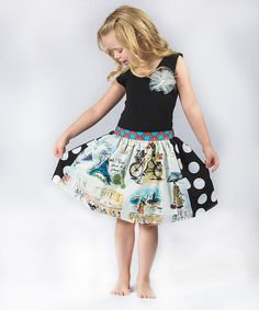 Look at this Million Polkadots Black Paris Flower Top & Skirt - Toddler & Girls on #zulily today!