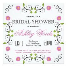 #bridal #shower #invitations - #Hot Pink Flower Border Bridal Shower Card