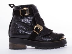 To Be Announced Felony in Black Leather at Solestruck.com