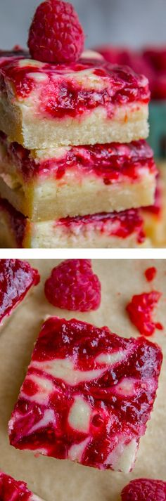 Raspberry Cheesecake Bars from The Food Charlatan. I should really call these Raspberry Cheesecake Bars with Copious Amounts of Fresh Raspberries Not to Mention a Shortbread Crust. (That's not too long is it??) These bars are so rich and creamy and I would say you can only have one, but I'm pretty sure I ate half the pan while shooting, so... #cheesecake #bars #raspberry #creamcheese #swirl #layers #shortbread #crust #fresh #frozen #recipe #chill #spring