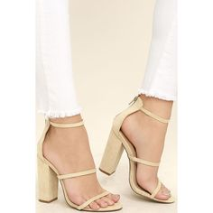 Fifi Nude Suede Ankle Strap Heels ($31) ❤ liked on Polyvore featuring shoes, pumps, beige, nude strappy shoes, peep-toe pumps, beige peep toe pumps, strap pumps and nude pumps