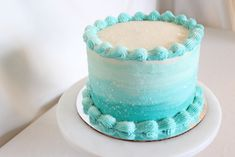Ocean Birthday Cakes, Ocean Cakes, 18th Birthday Cake, Homemade Birthday Cakes, Birthday Cake Girls, Aqua Cake, Turquoise Cake, Ombre Cake, Smash Cake Girl