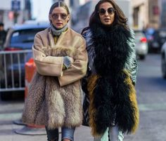 Olivia Palermo is seen outside the Jonathan Simkhai show wearing a Prabal Gurung fur coat during New York Fashion Week: Women's Fall/Winter 2016 on February 14, 2016 in New York City.
