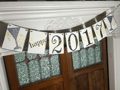 Happy 2017 Banner, Rustic Happy New Year Banner, New Year Photo Prop, Glitter Champagne Glasses