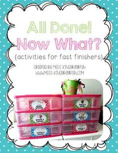 All Done! Now What? {activities for fast finishers} - $6