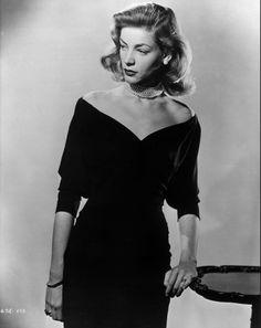 Lauren Bacall timeless off the shoulder dress 1940s