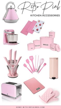 Retro Pink Kitchen Accessories Shopping Guide Inspiration - Bring pink retro style and looks to your kitchen must have kitchen accessories, gadgets and appliances. Source by bloominganomaly shop Retro Pink Kitchens, Black Kitchens, Cool Kitchens, Pink Kitchen Appliances, Kitchen Utensils, Kitchen Gadgets, Cooking Gadgets, Vintage Appliances, Kitchen Canisters