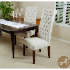 Christopher Knight Home Tall Natural Tufted Dining Chairs (set Of 2)