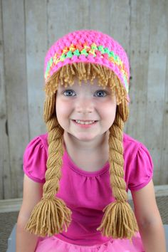 Baby Hats Cabbage Patch Wig Gift for girls Cute Winter Hat or Halloween Costume Etsy Crochet Baby Hats, Crochet Gifts, Crochet Yarn, Hand Crochet, Baby Knitting, Cabbage Patch Hat, Yarn Wig, Cute Winter Hats, Princess Hat