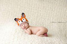 Baby BoyFox Baby Hat Newborn Fox Hat woodland by LovelyBabyKnits