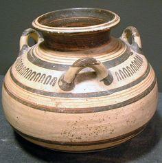 "Mycenaean Terracotta Three-Handled Jar - X.0291  Origin: Mediterranean  Circa: 14 th Century BC to 13 th Century BC  Dimensions: 5.75"" (14.6cm) high  Collection: Classical  Medium: Terracotta"