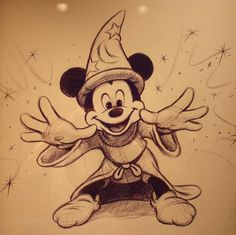 Mickey Mouse with his costume from Fantasia Photograph displayed at Disneyland Hotel. Disney Mickey Mouse, Mickey Mouse E Amigos, Mickey Mouse And Friends, Mickey Mouse Sketch, Mickey Mouse Drawings, Classic Mickey Mouse, Minnie Mouse, Disney And More, Disney Love