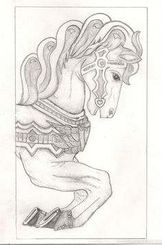 carousel horse drawing or stamp - Google Search
