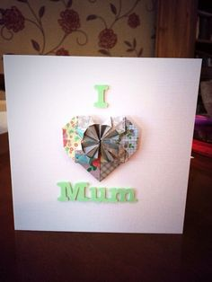 Patchword origami heart on linen card, what's not to love?