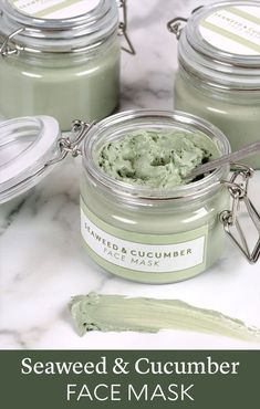Seaweed Cucumber Face Mask - full of skin-loving ingredients and suitable for a variety of skin types with dry ingredients like sea clay and spirulina powder. The oils in this mask were chosen for their light texture and nourishing properties. Cucumber s Cucumber Face Mask, Spirulina Powder, Clay Face Mask, Face Mask Diy, Diy Hydrating Face Mask, Dit Face Mask, Fractionated Coconut Oil, Homemade Face Masks, Diy Mask