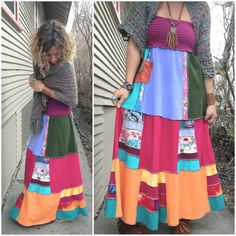 CUSTOM Make Request Eco long patchwork boho SKIRT with by zasra