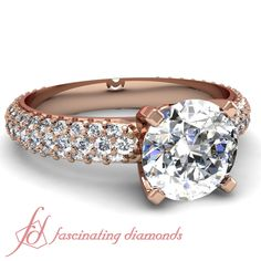 Round Diamonds 14K Rose Gold Side Stone Engagement Ring in Pave Setting || Trellis Ring