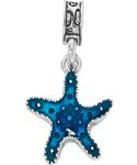 """Tyndall AFB FL - On the white sands near Panama City, FL is Tyndall AFB, headquarters 1st Air Force.  Our Tyndall AFB charm portrays a starfish one could likely find when it washes up from the beautiful blue waters.  The starfish is enameled in a brilliant seawater blue and has """"Tyndall AFB FL"""" inscribed on the back."""