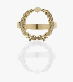 A circular wreath sits on the finger with the center exposed. Meadowlark Jewellery, Wreath Rings, Yellow Gold Rings, Jewelry Gifts, Wreaths, Jewels, Stone, Metal, Rock