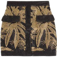 Balmain Embellished Mini Skirt ($2,220) ❤ liked on Polyvore featuring skirts, mini skirts, falda, gold, embellished skirt, zipper skirt, short mini skirts, party skirts and balmain