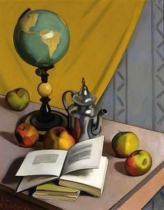 "proseandpassion:  ""thomerama:  "" stilllifequickheart:  "" Raoul Martinez  Still Life with Globe and Apples  1925  "" """