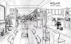 White Collar set design, Burke's living room. Principles of design in use: unity, proportion, contrast.