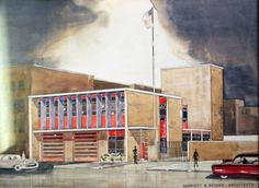 Drawing of Engine Co. No. 5. Engine Co. No. 5. by Garriott and Becker, Modernist style, Cincinnati, Ohio.