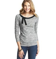 Bow Neck Cotton Tee - think I could make this with a tee and some grosgrain ribbon.  Nice design.