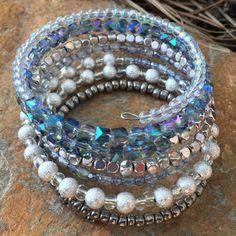 Coil bracelet wrap bracelet memory wire bracelet bead