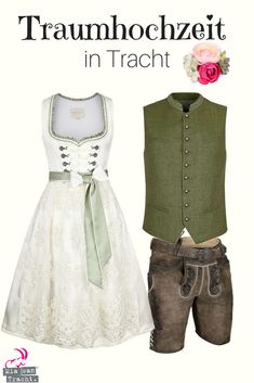 Wedding dirndl ecru olive - traditional costumes women NEW New Perfect match! Here is a great look for the dream wedding in traditional costume. Oktoberfest Outfit, Cute Dress Outfits, Cool Outfits, Couture Dresses, Fashion Dresses, Tea Length Wedding Dress, Wedding Dresses, Designer Wedding Gowns, Amazing Weddings