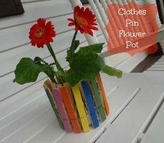 Clothespin flowerpot