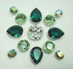 Sew On Swarovski Crystals | Green Swarovski Crystal Sew On in Brooch by maryelizabethanne