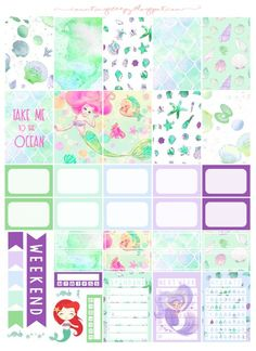 Free Printable Mermaid Planner Stickers from Counting Sheepy Pastel green stickers - shells, oceans and sayings with hydration tracker, frames, banners etc. Planner Free, Planner 2018, To Do Planner, Mini Happy Planner, Planner Layout, Planner Pages, Planner Ideas, Washi, Filofax
