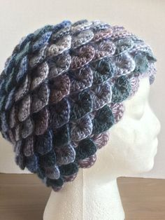 Crochet warm winter hat/toque crochet crocodile stitch/dragon /mermaid scale-shades of blues and mauve Crochet Crocodile Stitch, Knit Crochet, Crochet Hats, White Shawl, Warm Winter Hats, Lovely Shop, Mermaid Scales, Beanies, Shades Of Blue