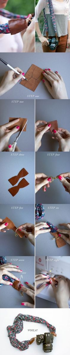 How to make beautiful camera strap from a Laura Ashley scarf step by step DIY tutorial instructions / How To Instructions