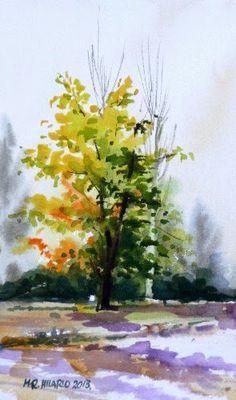 TALLER de ACUARELA de HILARIO: Árbol en cerro del Aire. Cómo pintar un árbol en acuarela. Painting tree in watercolor. 237.