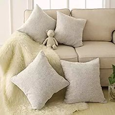 Deconovo Faux Linen Cushions with Invisible Zipper Square Decoration Throw Pillow Cases Cushion Covers for Sofa 18 x 18 Inch Cream Set of 4