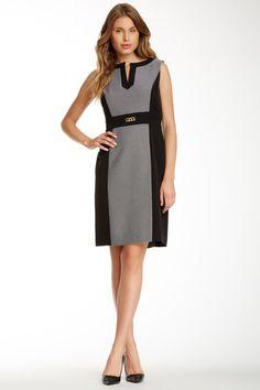 Tahari Sleeveless Jacquard Colorblock Sheath Dress