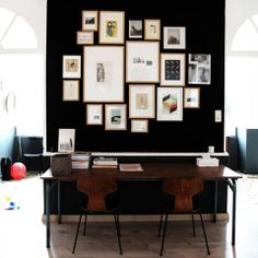 Black Wall with photos (map?)