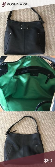 Kate spade large black shoulder bag. Genuine black leather. Gorgeous green lining with inside zipper and wall pockets. kate spade Bags Shoulder Bags