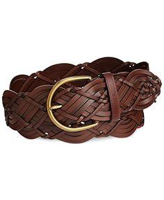 d916456f7707 Ralph Lauren Women s Woven Panel Leather Belt