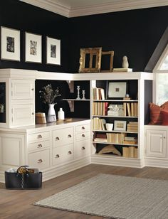 The inset styling of these home office cabinets streamlines and unifies the storage in a specially tailored corner, decorated by inset end panels, optional finial hinges and finger pulls.