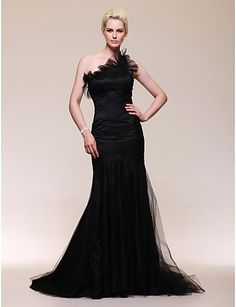 Satin Tulle Trumpet/Mermaid One Shoulder Sweep Train Evening Dress inspired by Julia Stiles at Golden Globe Award - USD $ 179.99