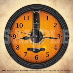 A unique acoustic guitar decorative wall clock. A great addition to any home, studio or office. Also makes a great gift idea for any musician or Music Bedroom, Boys Bedroom Decor, Best Acoustic Guitar, Acoustic Guitars, Music Wall, Music Clock, House Yard, Musician Gifts, Music Decor