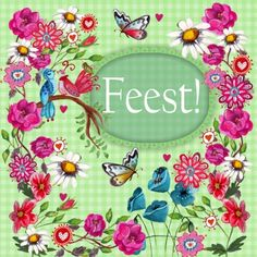 Uitnodiging Verjaardag Feest Bloemen (Cartita Design)