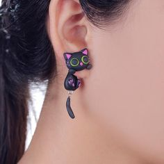 Handmade Purple Ear Cute Cat Stud Earring Fashion Jewelry Polymer Clay Cartoon - Hespirides Gifts