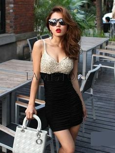 Newstyle Sexy Pleated Sequin Splicing Bodycon Dress : Lamistore.com