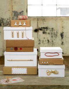 #DIY #paper #storage box #boxes - zelfmaakidee: #karton #papier #opbergen #opbergdozen - kijk op: www.101woonideeen.nl
