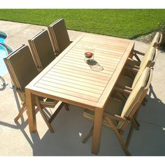 Outdoor Royal Teak Comfort 96 in. Estate Patio Dining Set - Seats 6 - RTK110