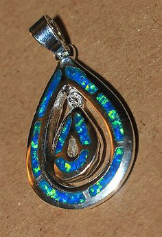 blue fire opal necklace pendant Gemstone silver jewelry stylish cocktail 0H